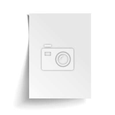 Plakat Wektor Biały arkusz papieru. Realistyczne puste notatki papieru szablonu format A4 z miękkich cieni samodzielnie na białym tle.