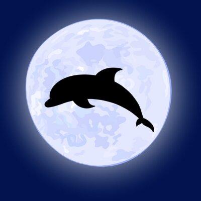 Plakat Wektor illusration skoków delfinów na nocnym niebie w pełni księżyca w tle