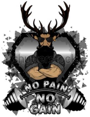 Plakat Wektor ilustracja brzana i silne jelenie. Bez bólu - brak inspirujących napisów.