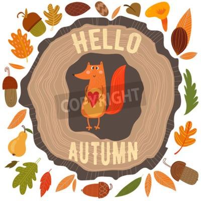 Plakat Wektor jesienią karty z wieńcem z liści i żołędzi. Archiwalne karty z cute lisa jesień i tekstu