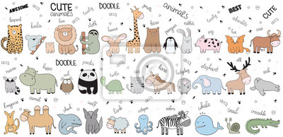 Plakat Wektor kreskówka duży zestaw ładny zbiory zwierząt