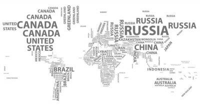 Plakat Wektor mapa świata z nazwy kraju w typografii