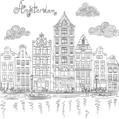 Plakat Wektor miasta Widok kanał Amsterdam