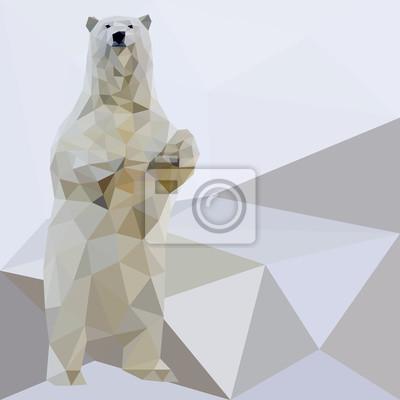 Wektor Niedźwiedź polarny stylizowane trójkąt wielokątne modelu. poli Niski.
