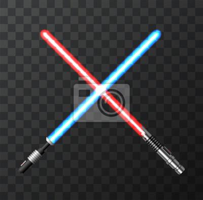 Plakat Wektor nowoczesne świetlne miecze na ciemnym tle.