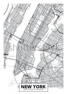 Plakat Wektor plakat mapa miasta Nowy Jork