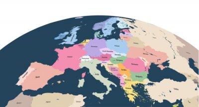 Plakat wektor planeta Ziemia glob z bliska kontynentu Europy
