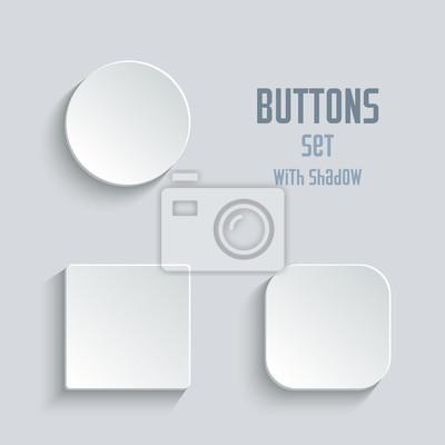 Plakat Wektor puste zestaw przycisku. Okrągły plac zaokrąglone przyciski