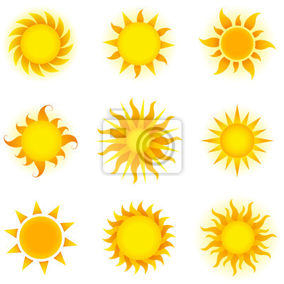 Plakat Wektor Słońca Set