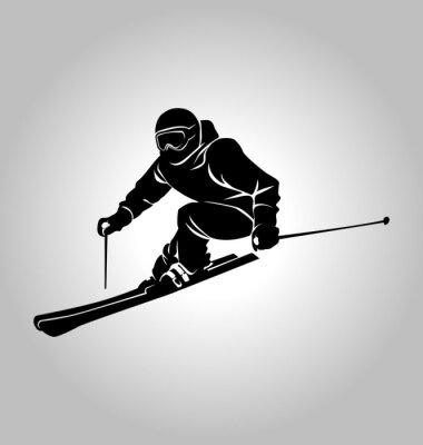 Plakat wektor sylwetka narciarza