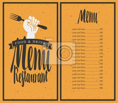 Plakat Wektor szablon menu restauracji na tle z widelcem w ręku