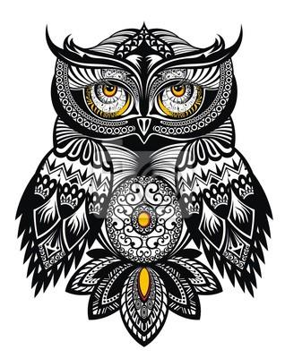 Wektor Tatuaż Sowa Artystyczna Plakaty Redro