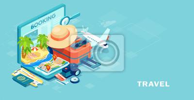 Plakat Wektor wyposażenia podróży i bagażu na ekranie dotykowym laptopa
