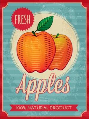 Plakat Wektor zabytkowe stylu świeże jabłka plakat