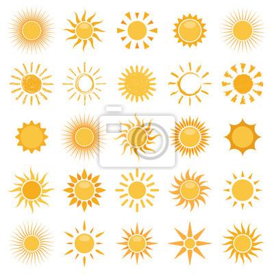 Plakat wektor zbiór ikon słońce na białym tle