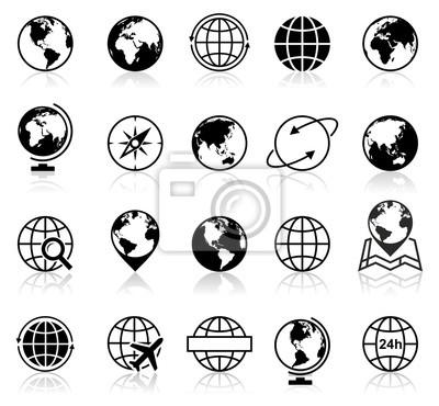 Wektor zestaw globu ikon i symboli.