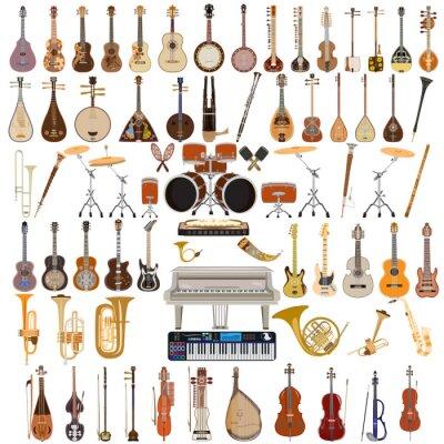 Plakat Wektor zestaw instrumentów muzycznych w stylu płaskim