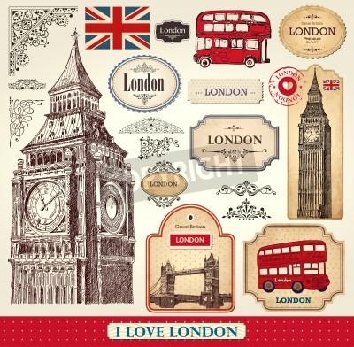 Plakat Wektor zestaw symboli Londynu