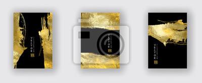 Plakat Wektor zestaw szablonów czarno -złota