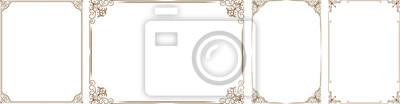 Plakat Wektor zestaw złota dekoracyjne poziome elementy kwiatu, narożniki, obramowania, ramki