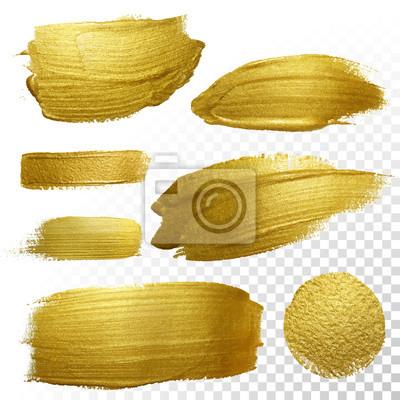 Plakat Wektor złota farba rozmaz udar plama ustawiony.