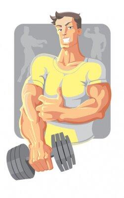 Plakat wektora sportowiec w kolorze żółtym z hantle