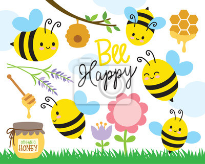 Plakat Wektorowa ilustracja śliczne pszczoły i miód.