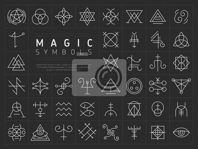 Plakat Wektorowa kolekcja różnorodni prości liniowi biali symbole od magicznego rzemiosła na zmroku - szary tło
