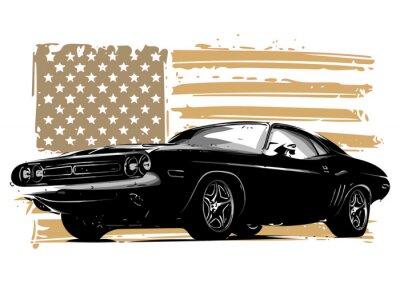 Plakat wektorowa projekt graficzny ilustracja amerykański samochód mięśni