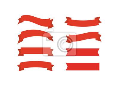Plakat Wektorowe czerwone wstążki. Ilustracja wektorowa promocji transparent wstążka.