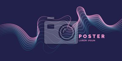 Plakat Wektorowy abstrakcjonistyczny tło z barwionymi dynamicznymi fala, linią i cząsteczkami ,.