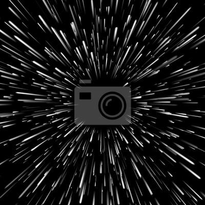 Plakat Wektorowy abstrakcjonistyczny tło z gwiazdą Osnowową lub hiperprzestrzeń z bezpłatną przestrzenią w centrum, światło poruszający gwiazdy pojęcie.
