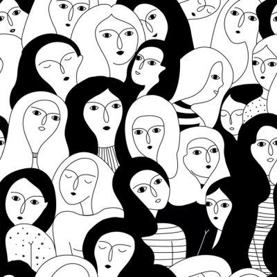 Plakat Wektorowy bezszwowy wzór z kobiet twarzami.