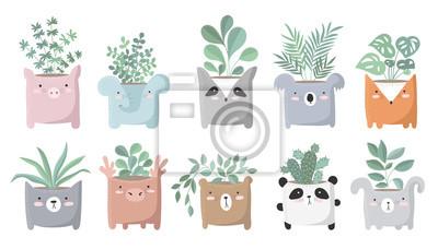 Plakat Wektorowy duży set śliczne domowe rośliny w śmiesznych zwierzęcych garnkach.