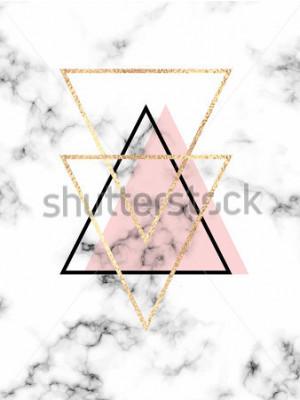 Plakat Wektorowy geometryczny projekta plakat z białym marmurowym tłem i złocistymi trójbokami.