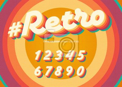 Plakat Wektorowy Retro abecadło projekt. Vintage krój 3D z kolorowymi warstwami tęczy. Litery dekoracyjne w stylu lat 70-tych. Funkcjonalny zestaw na plakat lub baner. Modny klasyczny kursor na tle retro koł