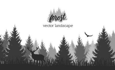 Plakat Wektorowy rocznika lasu krajobraz z czarny i biały sylwetkami drzewa i dzikie zwierzęta