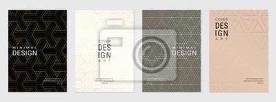 Plakat Wektorowy ustawiający okładkowy projekta szablon z minimalnymi złotymi geometrycznymi wzorami.