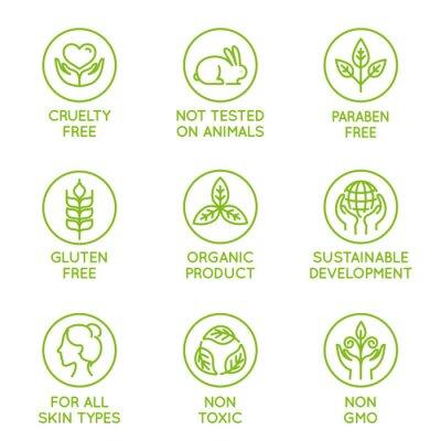 Plakat Wektorowy ustawiający projektów elementy dla naturalnych i organicznie kosmetyków