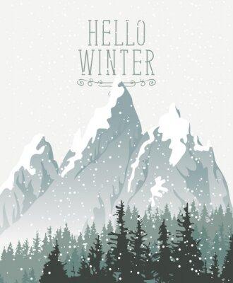 Plakat Wektorowy zima sztandar z słowami Cześć zima. Zima śnieżny krajobraz z opadem śniegu i wierzchołkami wiekowi jedlinowi drzewa na tle śniegi zakrywać góry