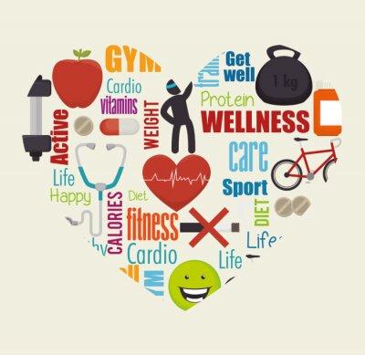 Plakat Wellness zdrowego stylu życia ikony