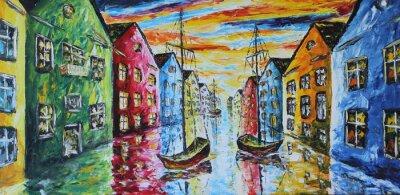 Plakat Wenecja łodzi pływających na ulicach, obraz olejny