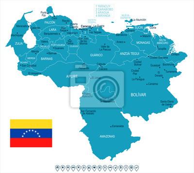 Plakat Wenezuela - mapa i flaga - szczegółowe wektorowej