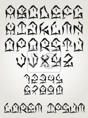 West Coast Graffiti Czcionki Ręcznie Napisane Tatuaż Lettering Alfabet Plakaty Redro