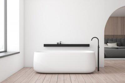 Plakat White bathroom and bedroom interior