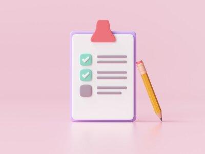 Plakat White clipboard with checklist on pink background. 3d render illustration.
