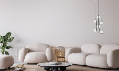 Plakat White living room in modern design, minimal clear space on empty bright background, 3d render