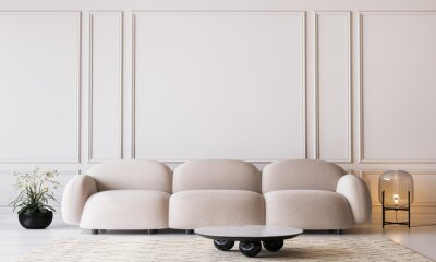 Plakat White living room in modern design, minimal clear space on empty classic background, 3d render