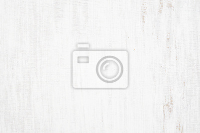 Plakat White painted wood texture seamless rusty grunge background, Scratched white paint on planks of wood wall.