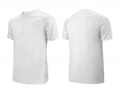 Plakat White T-shirts front and back side view used as design template.
